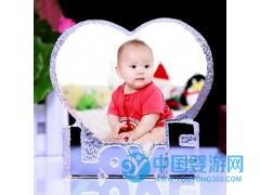 水晶love心形假山婴儿手脚印水晶纪念品水晶礼品定制水晶白胚
