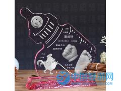 卡通鸡年手脚印 高档创意手足印婴儿纪念品定制 奶瓶宝宝出生礼物