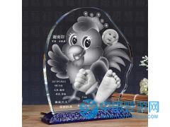 鸡年宝宝手脚印 婴儿纪念品定制 水晶手足印卡通鸡立体内雕手脚印