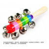 18cm七彩木制玩具宝宝益智手摇铃BB器早教玩具环保木棒摇铃