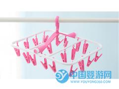 加厚折叠式婴儿衣物多夹晾晒衣架阳台防风塑料多功能20夹子