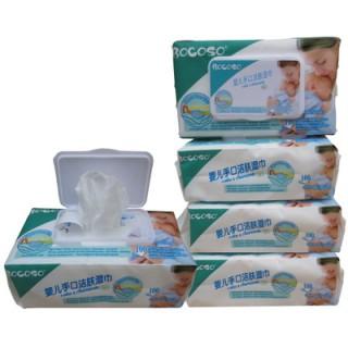 5包装)邦可士BOCOSO婴儿湿巾100抽带盖宝宝手口湿纸巾 防红屁屁