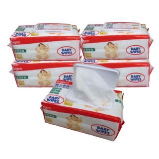 湿巾婴儿湿纸巾100抽带盖共5包 新生儿童宝宝手口屁屁专用