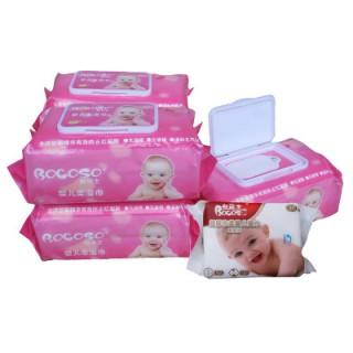 邦可士婴儿湿巾100抽带盖5包送1包共6包宝宝护肤湿纸巾防止红屁屁