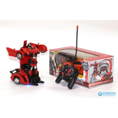 可充电变形遥控车一键变身1:18男孩机器人赛车