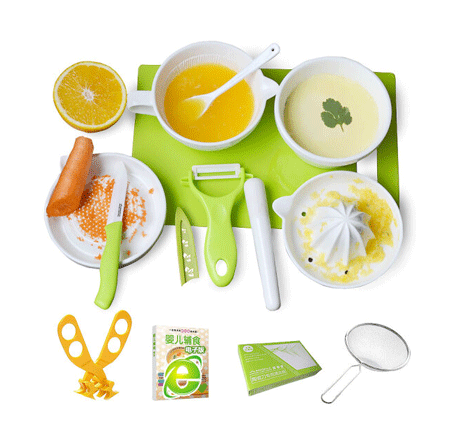 美帝亚陶瓷婴儿辅食研磨器辅食工具剪刀碗套装