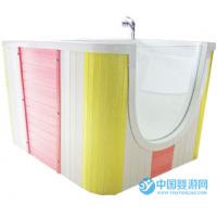 优尔博新款无味单面玻璃游泳冲淋一体池(塑木裙板)